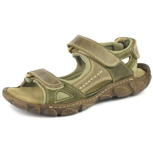 Sandały męskie 850 - beż ||oliwka marki Helios