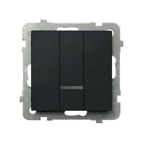 Łącznik potrójny z podświetleniem Czarny metalik - ŁP-13RS/m/33 Sonata (5907577446987)