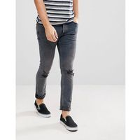 River Island Skinny Jeans With Knee Rips In Dark Blue Wash - Blue, jeansy