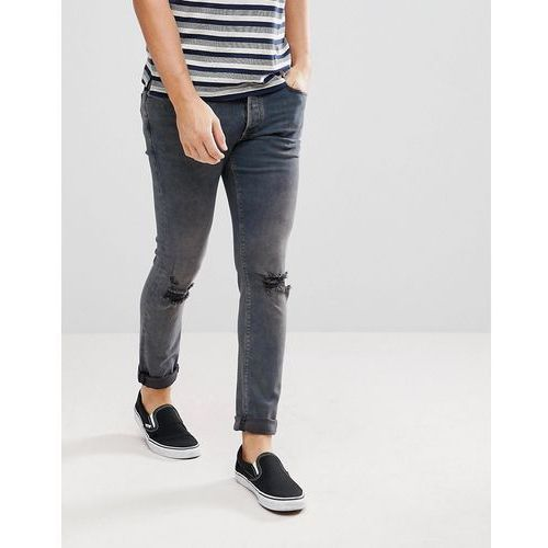 River Island Skinny Jeans With Knee Rips In Dark Blue Wash - Blue