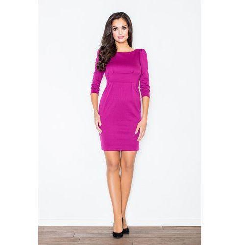 Klasyczna Elegancka Sukienka z Rękawem 3/4 w Kolorze Fuksji, w 4 rozmiarach
