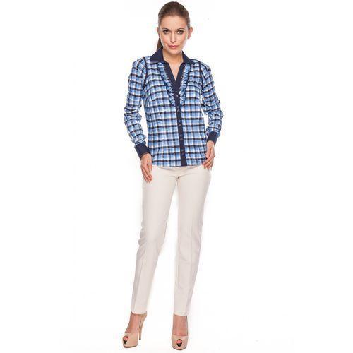 Bluzka w kratkę z żabotem - Duet Woman, 1 rozmiar