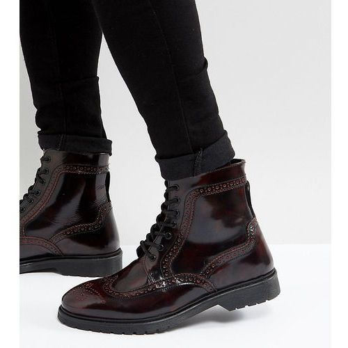 ASOS DESIGN Wide Fit lace up brogue boots in burgundy leather with ribbed sole - Red, kolor czerwony