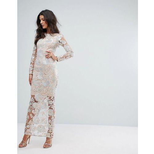 River Island Premium Floral Sequin Maxi Dress - Beige, kolor beżowy