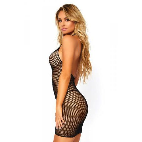 Fishnet zip up mini dress