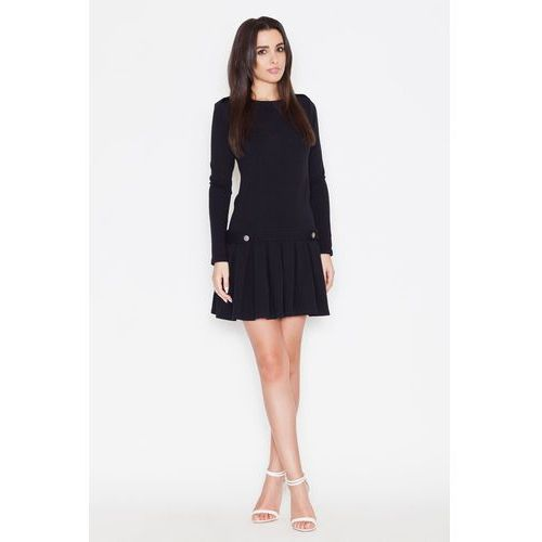 Czarna Casualowa Sukienka z Pagonami z Długim Rękawem, kolor czarny