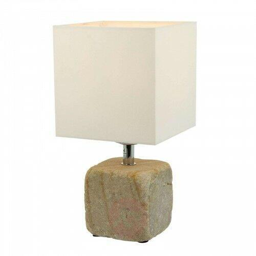 Spot-light Lampa stołowa sandy z piaskowca, klosz tekstylny