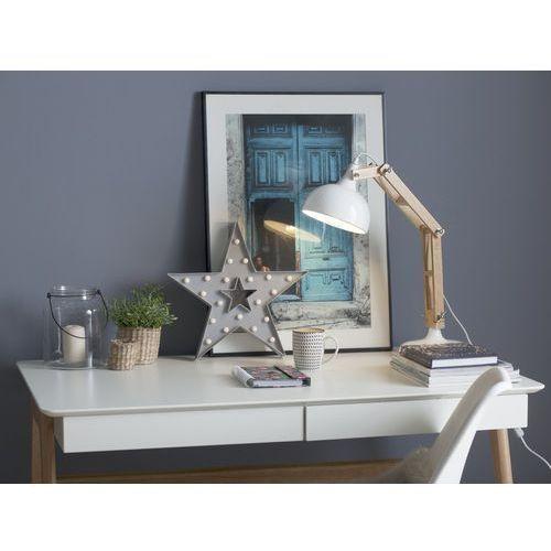 Lampka biurkowa drewniana biała salado marki Beliani