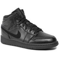 Buty NIKE - Air Jordan 1 Mid (Gs) 554725 090 Black/Black/Black, kolor czarny