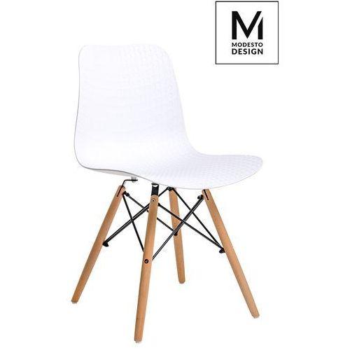MODESTO krzesło KRADO WOOD białe - polipropylen, podstawa bukowa (5900168801684)
