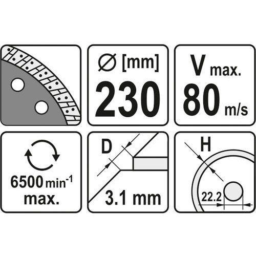 Tarcza diamentowa, segment turbo 230 mm Yato YT-6025 - ZYSKAJ RABAT 30 ZŁ, YT-6025