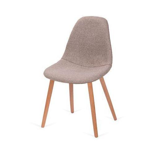 Krzesło tapicerowane PLUSH - podstawa bukowa - ZEBRA beżowa