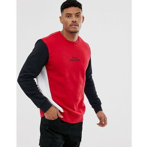 Bershka colour block sweatshirt in red with chest print - red