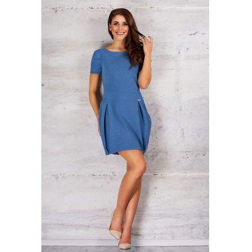 Niebieska Sukienka Bombka z Krótkim Rękawem