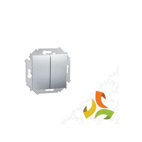 Wyłącznik schodowy podwójny 10AX, 250V, zaciski śrubowe, aluminium metalik 1591397-026 SIMON 15