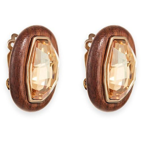 Swarovski Wood Crystallized Clip Earrings, gold plating Brown Gold-plated