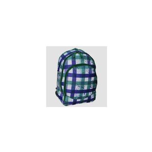 Plecak młodzieżowy kratka zielono-fioletowa