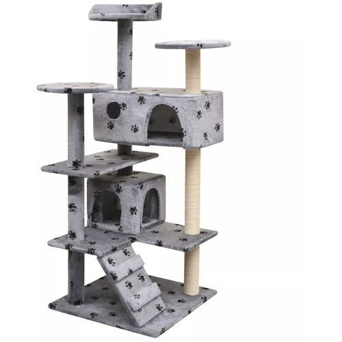 drapak dla kota, 125 cm, szary ze wzorem w kocie łapki marki Vidaxl