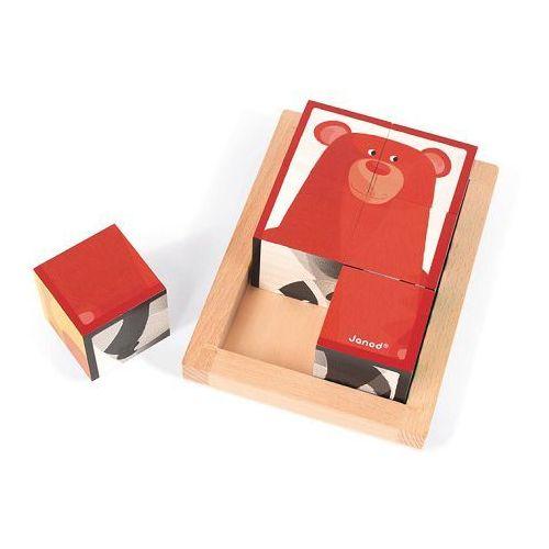 - klocki drewniane 6 elementów puzzle baby forest marki Janod