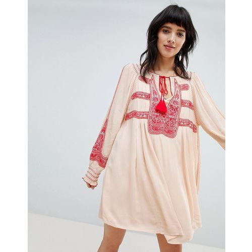 Free People Wind Willow Embroidered Mini Dress - White