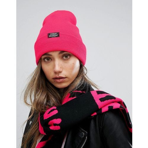 Cheap monday  ribbed knit beanie with patch logo - pink