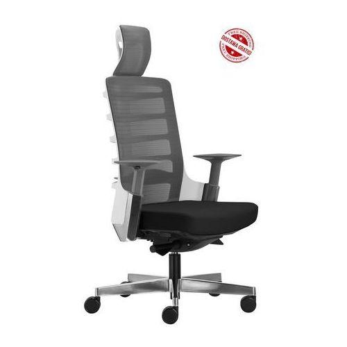 Fotel biurowy Unique SPINELLY 999W - Biały + czarny, wysuw siedziska. Tylko 1 sztuka!