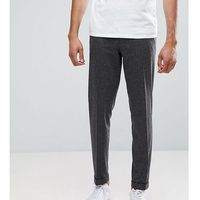 ASOS TALL Skinny Crop Smart Trousers In Charcoal Pinstripe With Turnup - Grey, kolor szary