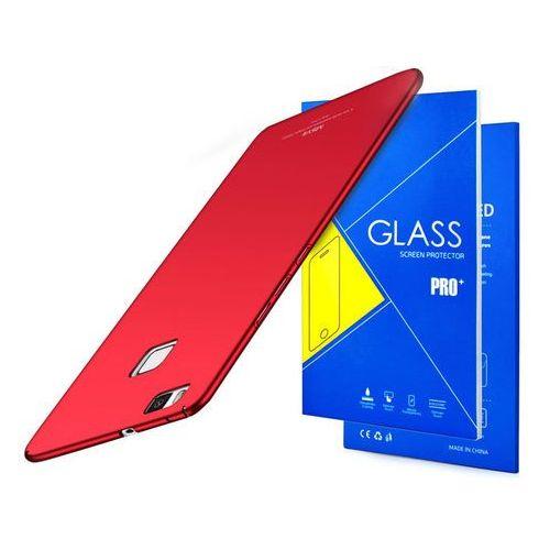 Etui thin case do huawei p9 lite czerwone + szkło 9h - czerwony marki Msvii