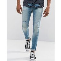 ASOS Super Skinny Jeans In Vintage Mid Wash Blue With Rip And Repair Detail - Blue, jeans