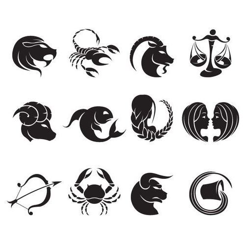 Szabloneria Zestaw 12 szablonów samoprzylepnych - znaki zodiaku. rozmiar m