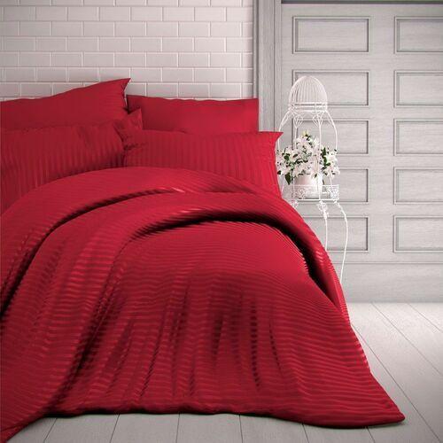 Kvalitex Pościel satynowa Stripe czerwony, 140 x 220 cm, 70 x 90 cm, 140 x 220 cm, 70 x 90 cm, kolor czerwony