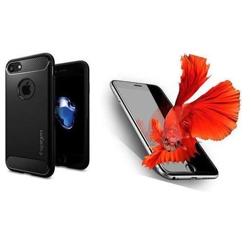 Zestaw | spigen sgp rugged armor black | obudowa + szkło ochronne perfect glass dla modelu apple iphone 7 marki Sgp - spigen / perfect glass