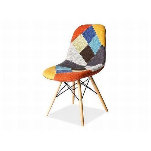 Krzesło drewniane SIGNAL PASCAL B PATCHWORK - styl skandynawski, Signal