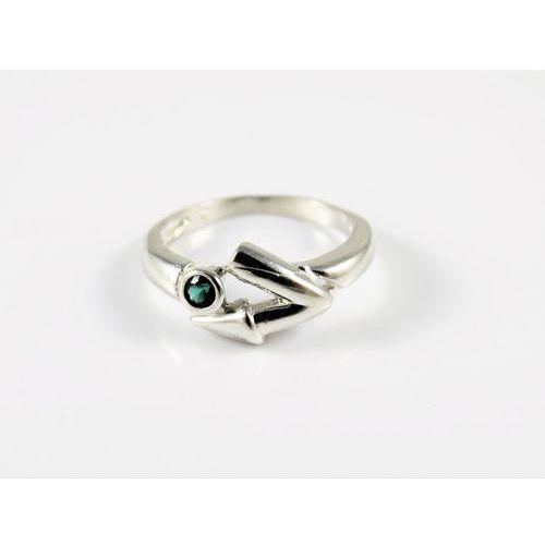 Srebrny pierścionek 925 ZIELONE OCZKO r. 13