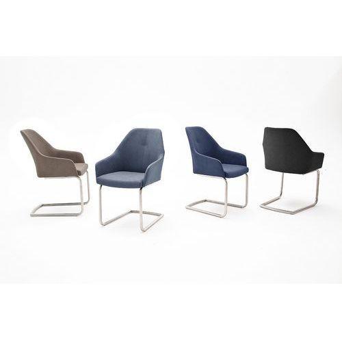 Krzesło MADI A płoza, stal szlachetna szczotkowana, ekoskóra