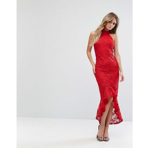 lace halterneck fishtail midi dress - red, Missguided