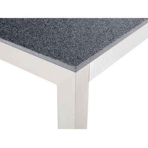 Beliani Stół szary polerowany ze stali nierdzewnej 180cm - granitowy blat - cała płyta - grosseto