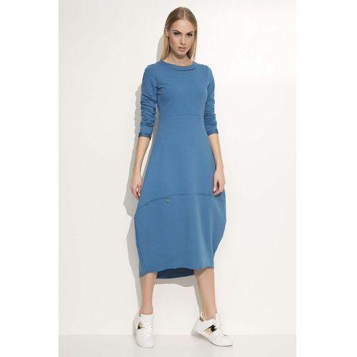 Jeansowa sukienka asymetryczna bombka midi z długim rękawem, Makadamia, 36-42