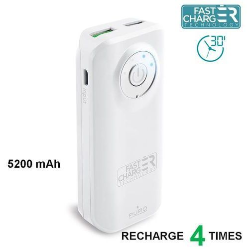 Powerbank  fast charger 5200 mah, 2 x usb, 2.4a (fcbb52c4whi) biały marki Puro