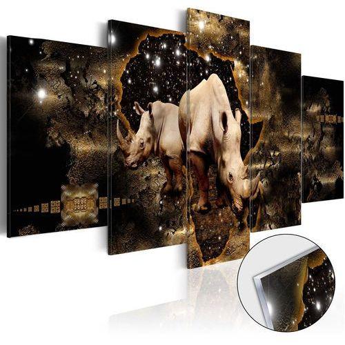 Obraz na szkle akrylowym - złoty nosorożec [glass] bogata chata marki Artgeist