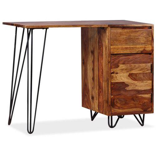 Vidaxl biurko z 1 szufladą i 1 szafką, lite drewno sheesham