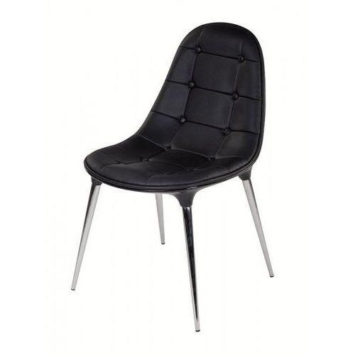 Krzesło PASSION ekoskóra całe czarne - włokno szklane, nogi chromowe, kolor czarny