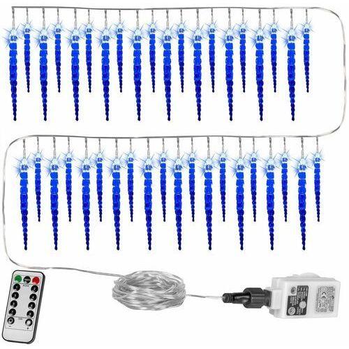 Voltronic ® Lampki świąteczne sople 40 diod ozdoba świąteczna + pilot - niebieski + pilot