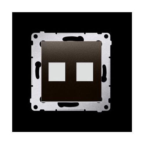 Pokrywa gniazd teleinformatycznych na Keystone płaska podwójna (moduł); brąz mat
