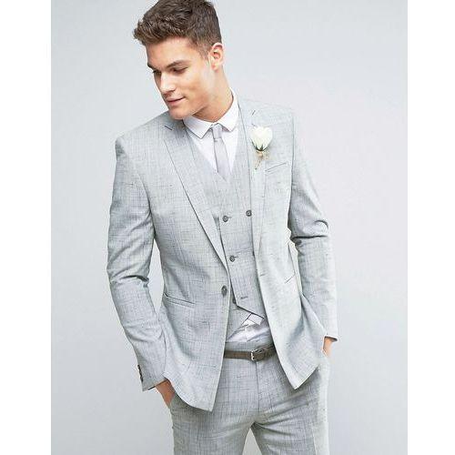 ASOS WEDDING Skinny Suit Jacket in Crosshatch Nep With Floral Print Lining - Grey z kategorii Pozostałe