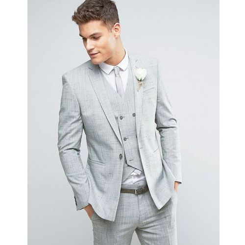 wedding skinny suit jacket in crosshatch nep with floral print lining - grey marki Asos