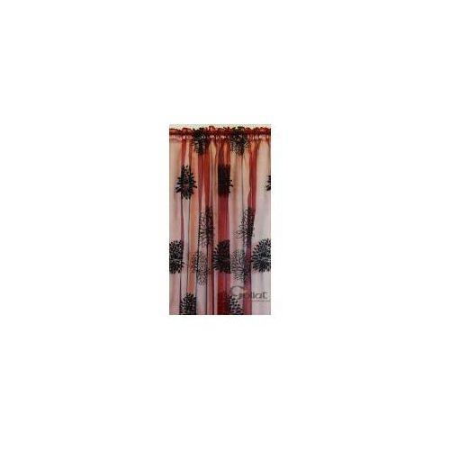 Firana bordowa w czarne kwiaty 250x140 FIR/CZER (5901907026627)