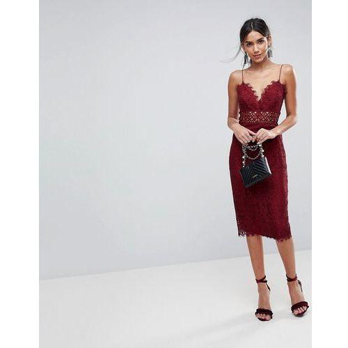 lace cami midi pencil dress - red marki Asos