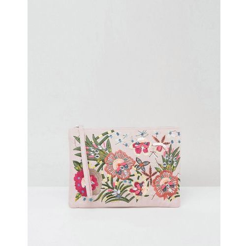 New look  floral embellished zip top clutch bag - beige