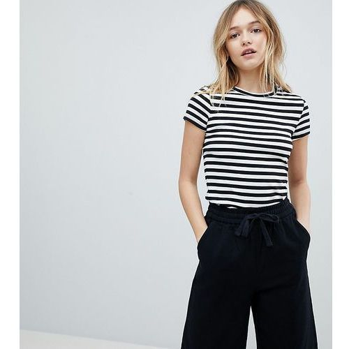 Monki Scoop Neck Stripe T-Shirt - Black, kolor czarny